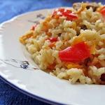 Куриные желудочки с рисом из духовки