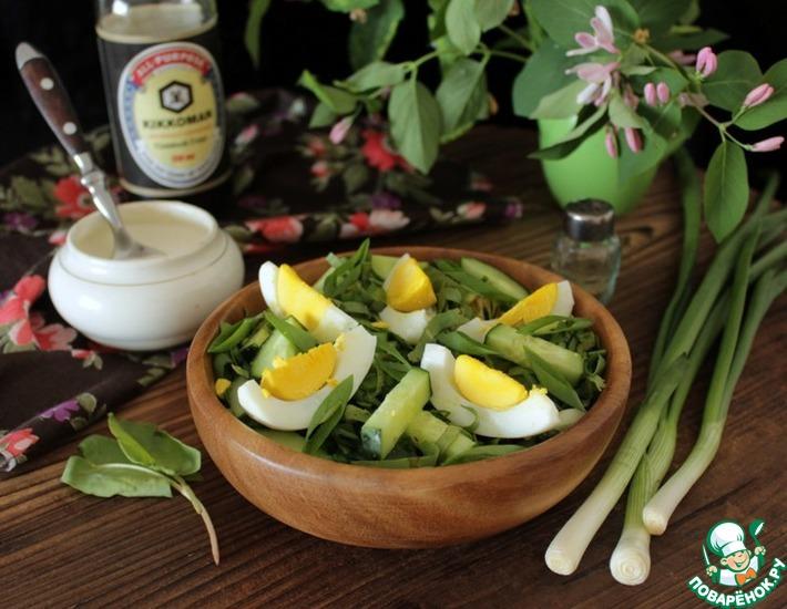 Рецепт: Огуречный салат со щавелем