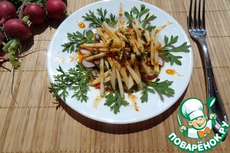 Рецепт: Салат с редисом, яблоком и кресс-салатом