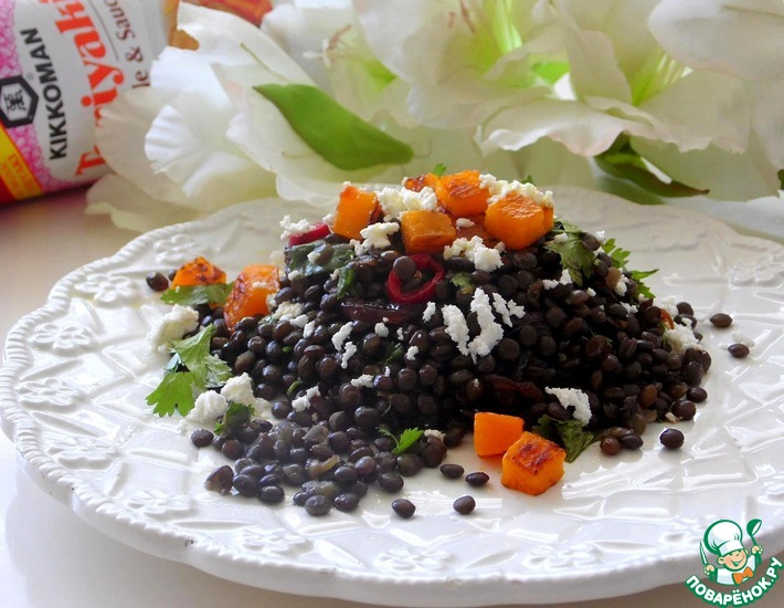 Рецепт: Салат из чёрной чечевицы
