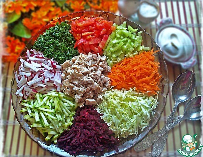 Рецепт: Салат Курица в огороде