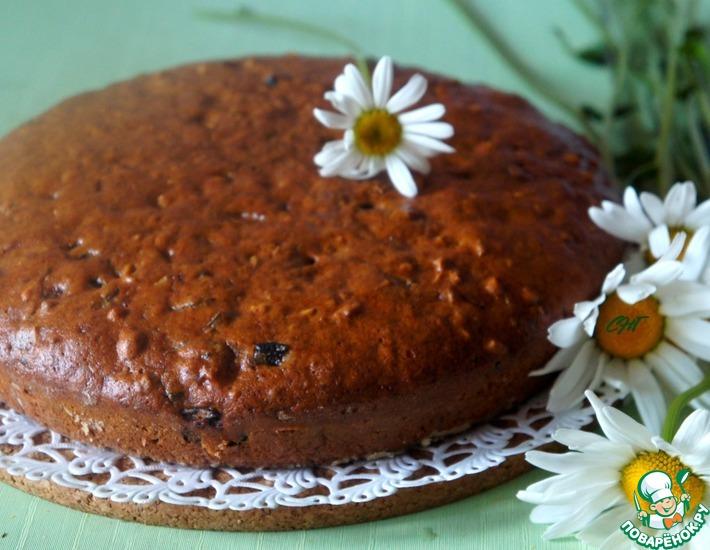 Рецепт: Постный кофейный пирог с черносливом
