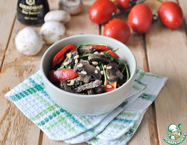 Рецепт: Тёплый салат из печени Усадьба