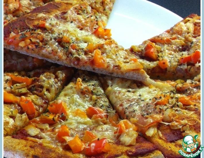 Рецепт: Пицца луковая из цельнозерновой муки