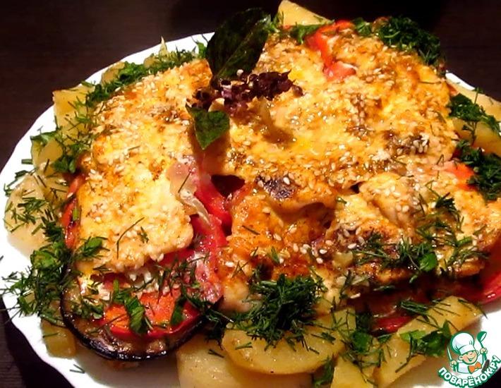 Рецепт: Слоёная курица с овощами
