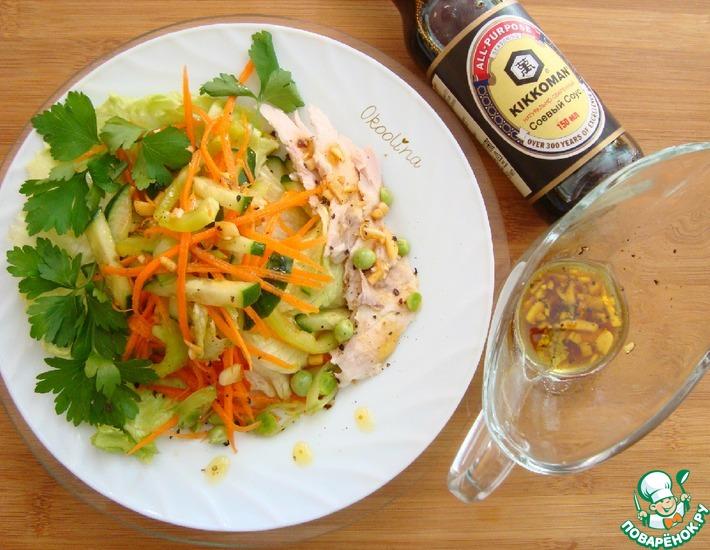 Рецепт: Салат с курицей и листовым салатом