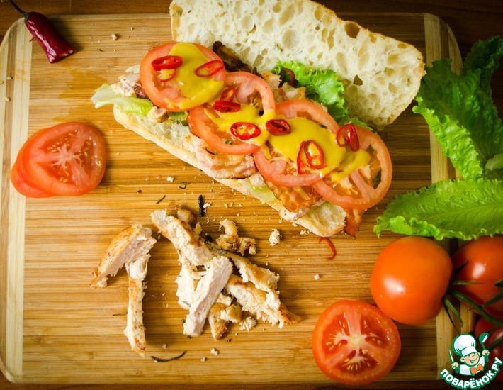 Рецепт: Сендвич с курицей и беконом