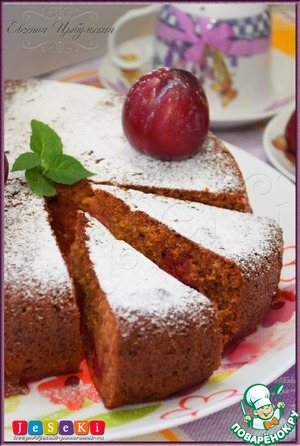 Honey gingerbread with plums