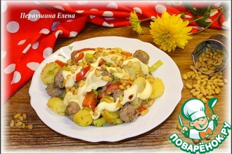 Рецепт: Теплый овощной салат с фрикадельками