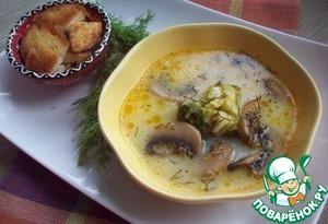 Рецепт Сырный суп с шампиньонами и брокколи