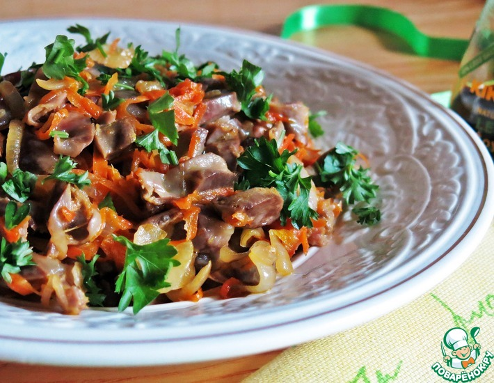 Рецепт: Теплый салат из куриных желудочков