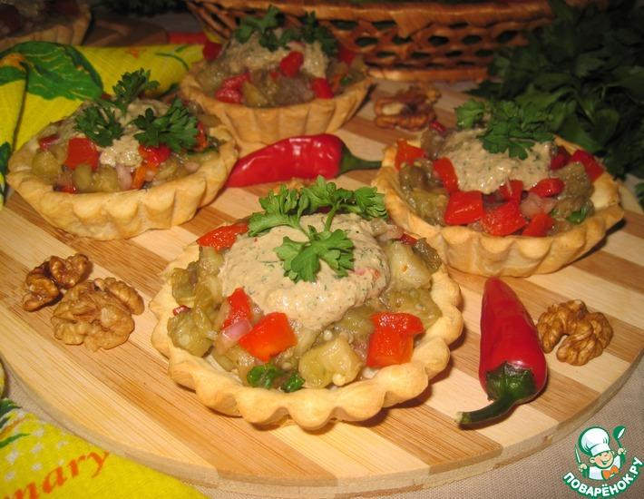 Рецепт: Салат с баклажанами в тарталетках