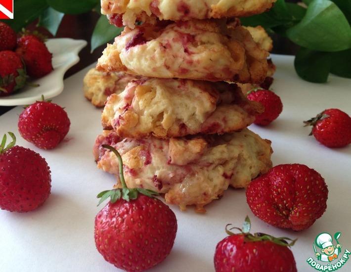 Рецепт: Клубничное печенье с белым шоколадом