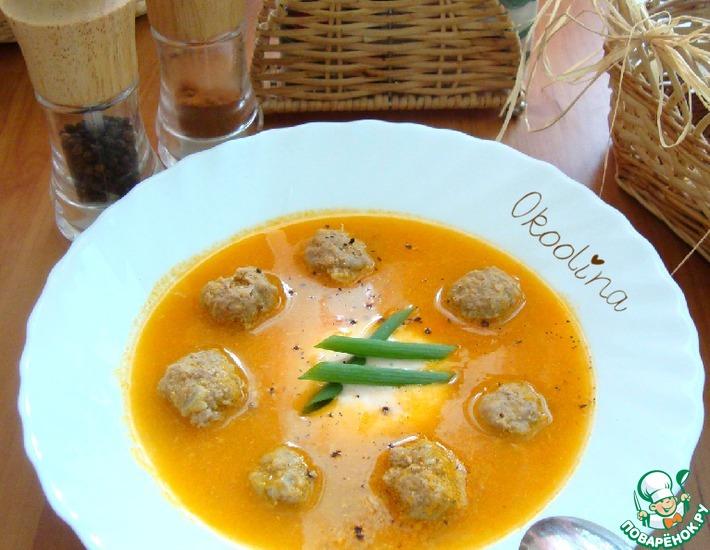 Рецепт: Суп-пюре томатный с фрикадельками и рикоттой