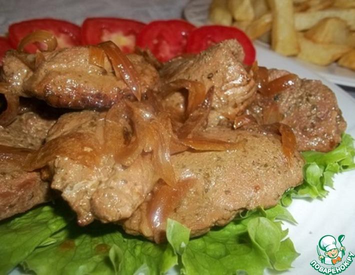 Рецепт: Мясо в зеленом маринаде