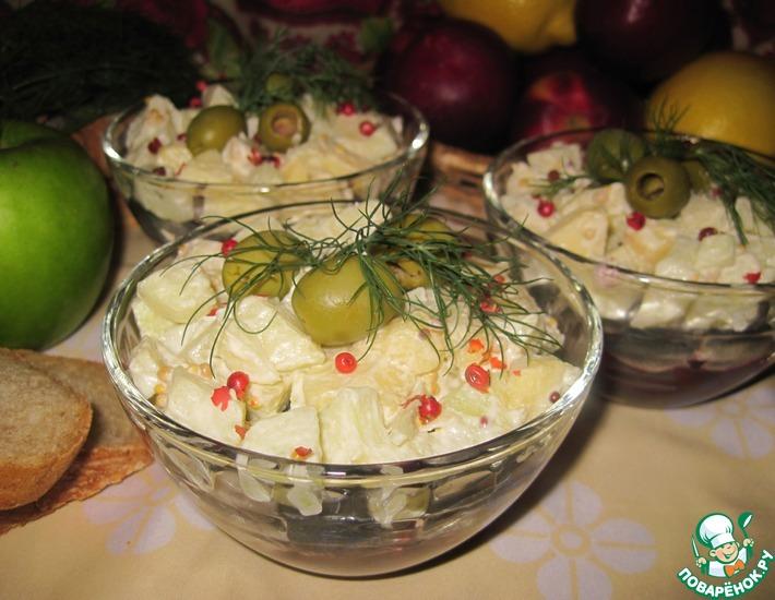 Рецепт: Салат из кильки с яблоком и свеклой