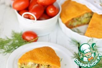 Рецепт: Пирог на томатном соке с картофелем и беконом