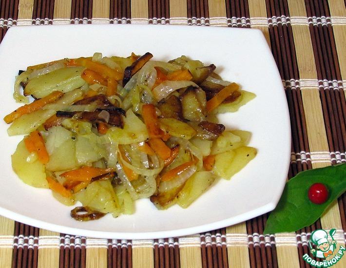 Рецепт: Жареный картофель с морковью