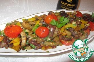 Рецепт: Теплый салат из сердечек с овощами