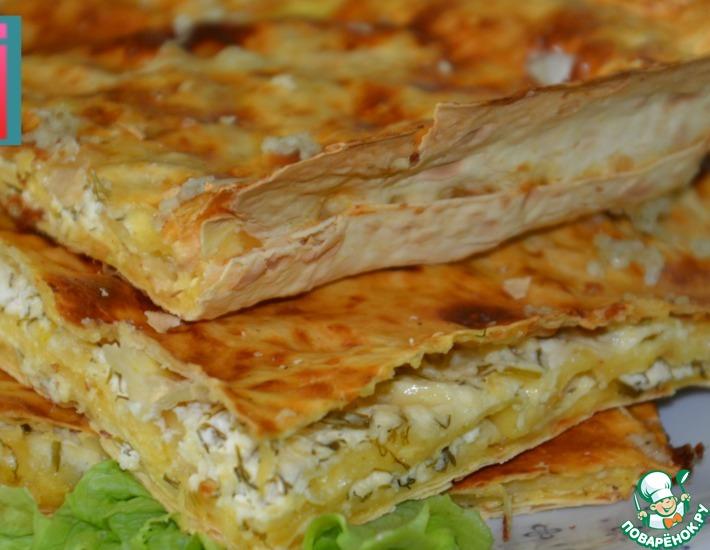 Рецепт: Ленивые хачапури с творогом и чесноком