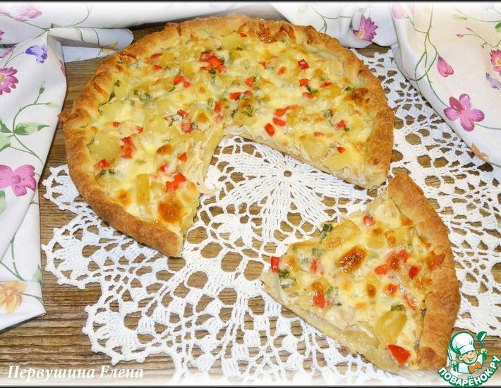 Рецепт: Пицца с курицей и ананасами