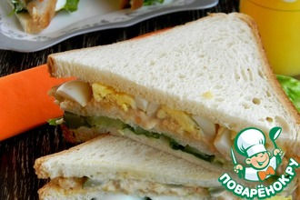 Рецепт: Сэндвич с креветками и кабачками