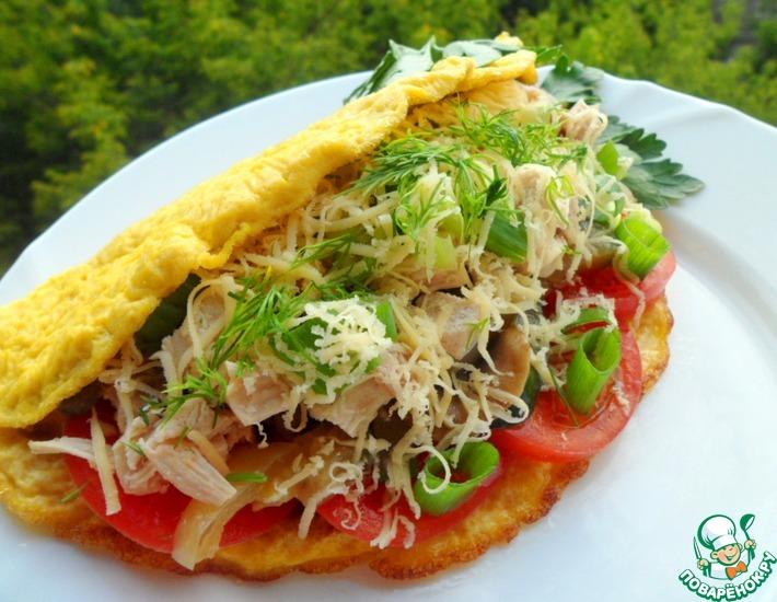 Рецепт: Теплый салат в омлете