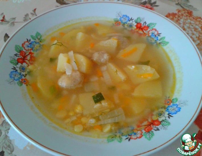 Рецепт: Гороховый суп с клецками