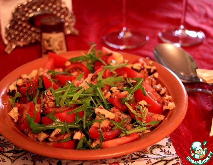 Рецепт: Салат с говяжьей печенью и рукколой