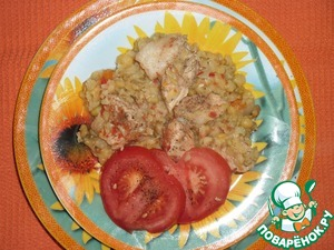 Ocost pork with peas and lentils