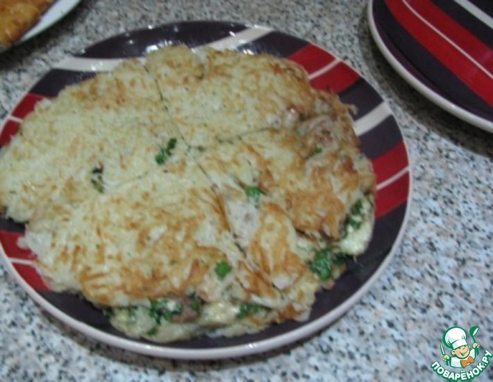Рецепт: Большой драник с начинкой из курицы и сыра