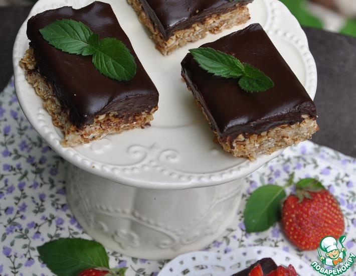 Рецепт: Овсяное печенье с шоколадной заливкой