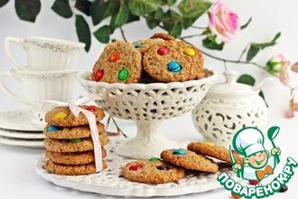 Рецепт: Овсяное печенье с шоколадными драже