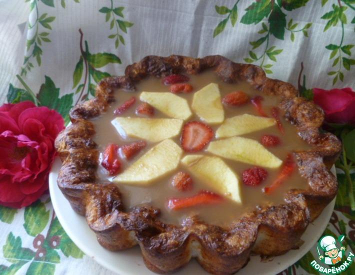 Рецепт: Творожный пирог с яблочным желе