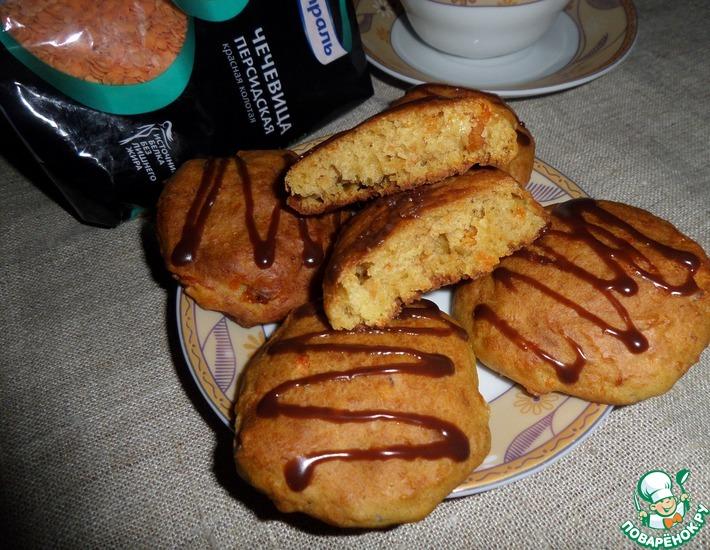 Рецепт: Чечевично-морковное печенье с курагой