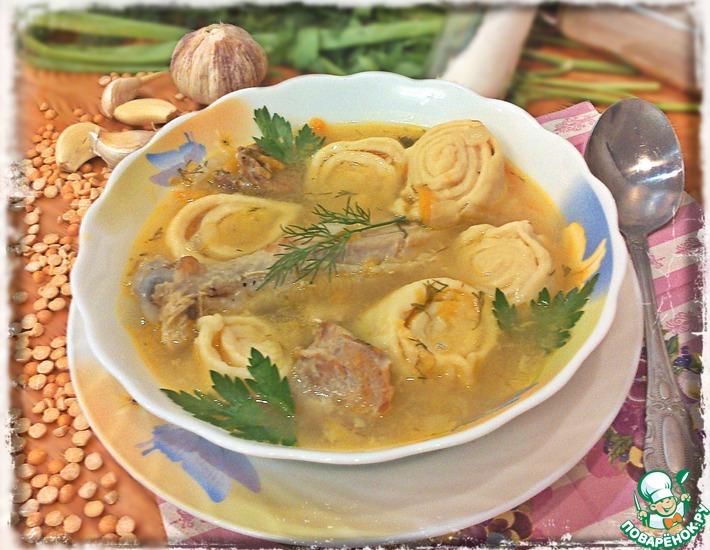Сливочно-чесночный суп из гороха