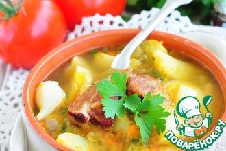 Рецепт: Быстрый гороховый суп из молодых овощей