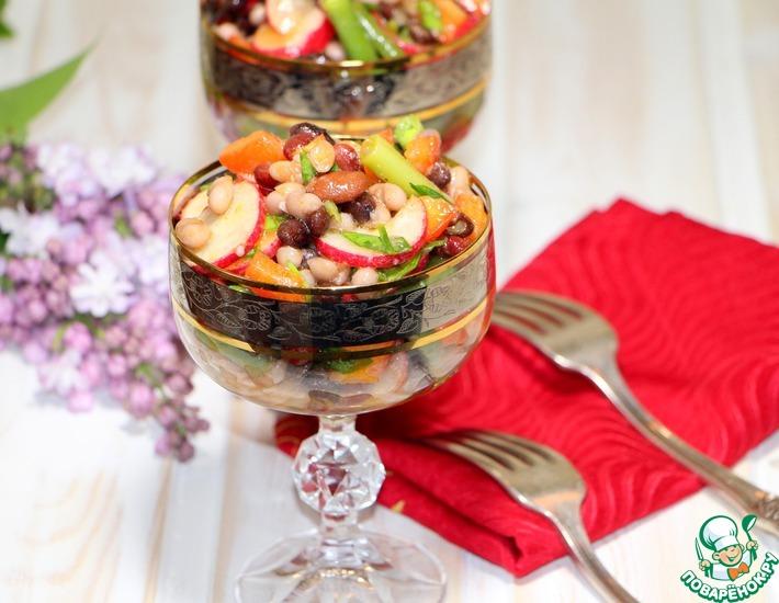 Рецепт: Салат Фасолевый микс с овощами и необычной заправкой