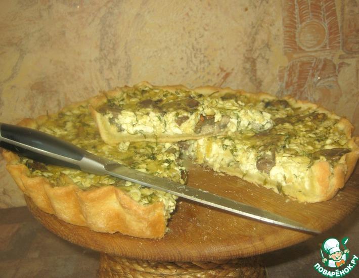 Рецепт: Пирог с творогом и грибами