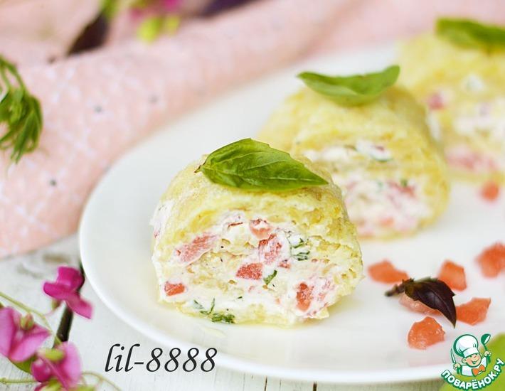 Рецепт: Чечевичный рулет с сыром и помидорами