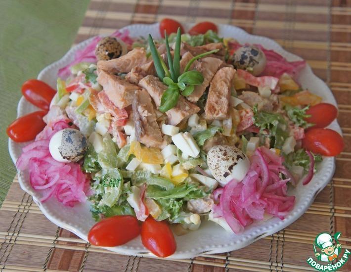 Рецепт: Салат из горбуши с болгарскими перцами
