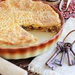 Пирог с фасолью, грибами и сыром