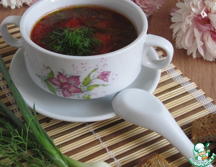 Рецепт: Суп со свекольной ботвой и фасолью