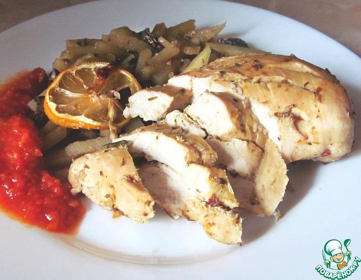 Рецепт: Запеченная куриная грудка с картофелем и грибами