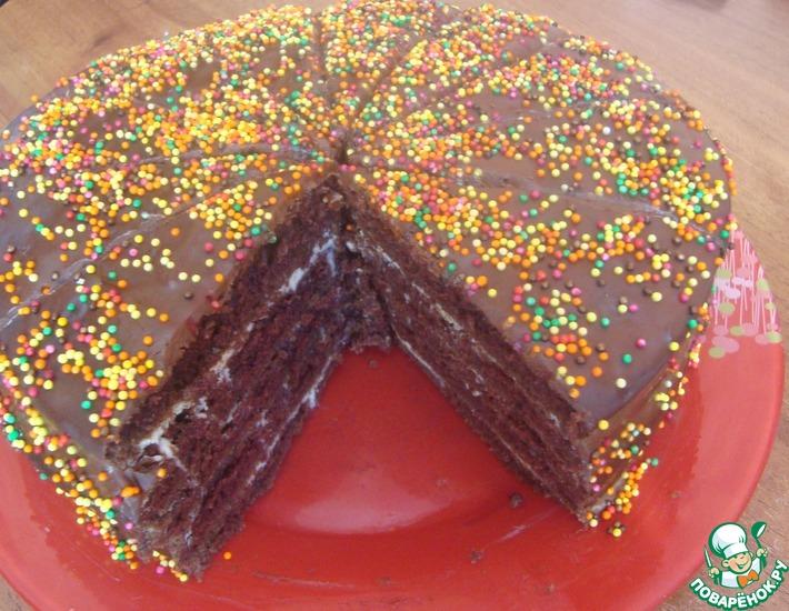 Рецепт: Торт Шоколад на кипятке на сковороде