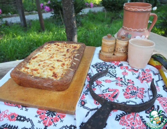 Рецепт: Пирог с диким рисом, курицей и баклажанами