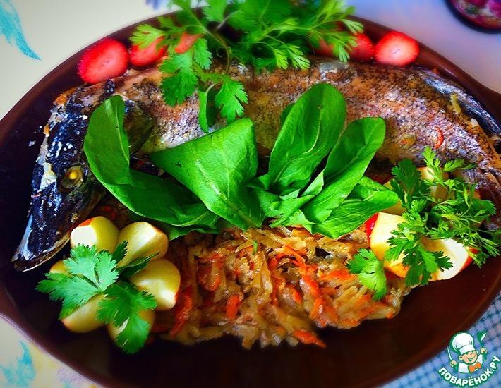 Рецепт: Щука, фаршированная овощами
