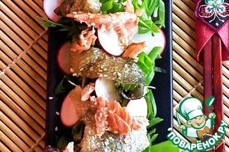 Рецепт: Японский салат с кожей лосося