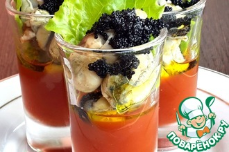 Рецепт: Веррины с мидиями и томатным желе