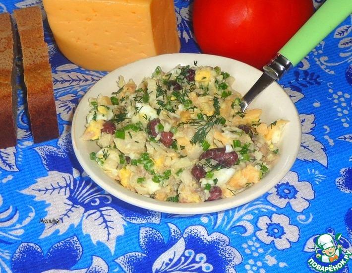Рецепт: Рыбный салат с красной фасолью